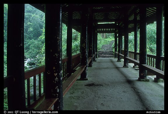 Covered bridge between Qingyin and Hongchunping. Emei Shan, Sichuan, China