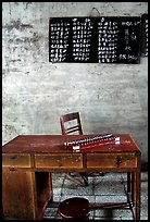 Desk counting frame and Chinese script on blackboard. Emei Shan, Sichuan, China