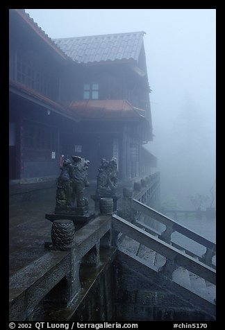 Xiangfeng temple in the fog. Emei Shan, Sichuan, China