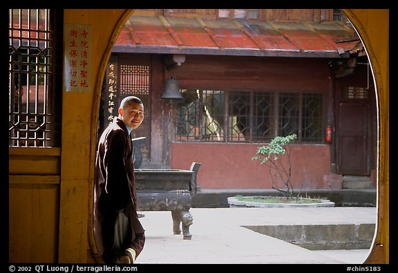 Monk in Jinding Si temple. Emei Shan, Sichuan, China (color)