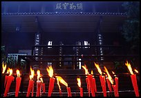 Candles burning in front of Wannian Si temple. Emei Shan, Sichuan, China ( color)
