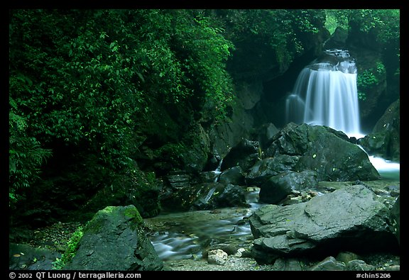 Waterfall between Qingyin and Hongchunping. Emei Shan, Sichuan, China (color)