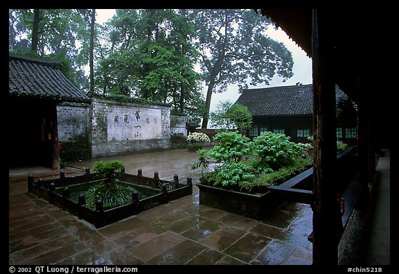 Courtyard of Hongchunping temple in the rain. Emei Shan, Sichuan, China