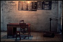 Desk with counting frame, blackboard with Chinese script, scale. Emei Shan, Sichuan, China