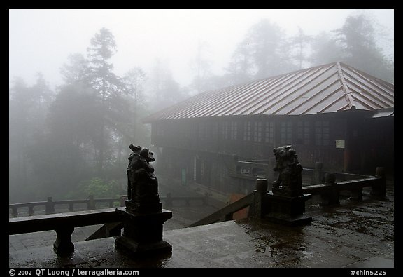 Xiangfeng temple in mist. Emei Shan, Sichuan, China (color)