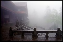 Xiangfeng temple in fog. Emei Shan, Sichuan, China