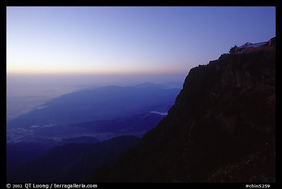 Sunset on Jinding Si (Golden Summit), perched on a steep cliff. Emei Shan, Sichuan, China (color)