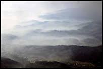 Receding ridges in fog, seen from Jinding Si, morning. Emei Shan, Sichuan, China (color)