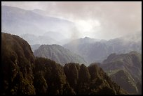 Forest-covered slopes and ridges of Emei Shan. Emei Shan, Sichuan, China