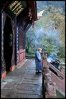 Monk in front of Jieyin Palace. Emei Shan, Sichuan, China (color)
