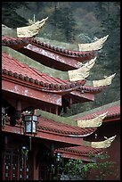 Roof detail of Jieyin Palace. Emei Shan, Sichuan, China (color)