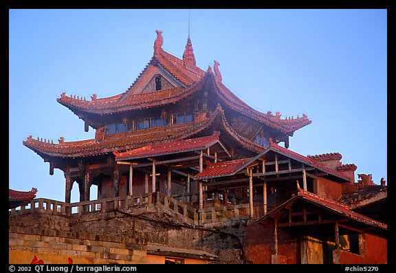 Golden Summit temple, evening. Emei Shan, Sichuan, China (color)