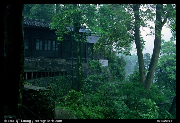 Hongchunping temple, nested in a forested hillside. Emei Shan, Sichuan, China (color)