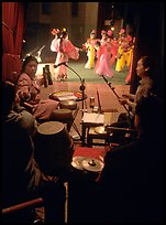 Sichuan opera performers and musicians seen from the backstage. Chengdu, Sichuan, China ( color)