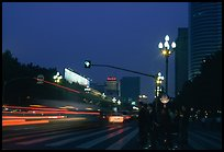 Lights of the trafic in a large avenue. Chengdu, Sichuan, China (color)