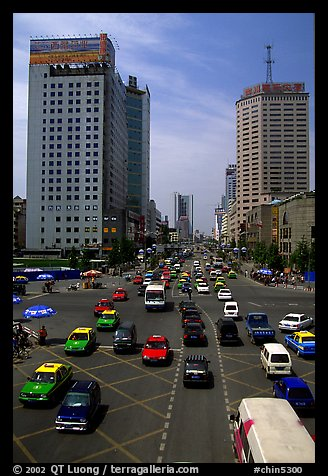 Car traffic on a major avenue. Chengdu, Sichuan, China (color)