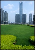 Landscaped plaza and highrises near the East train station. Guangzhou, Guangdong, China (color)