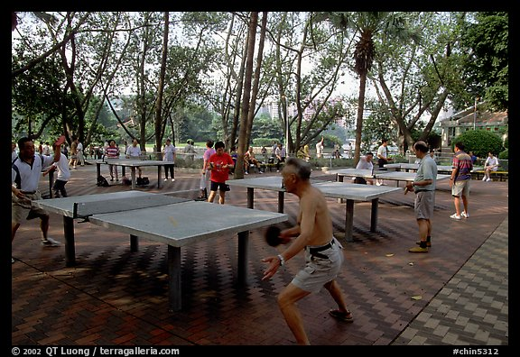 Playing table tennis, Liuha Park. Guangzhou, Guangdong, China