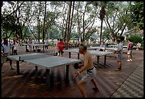 Playing table tennis, Liuha Park. Guangzhou, Guangdong, China (color)