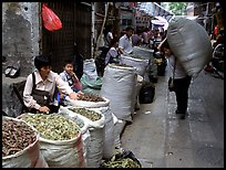 Large bags of dried food items. Guangzhou, Guangdong, China ( color)