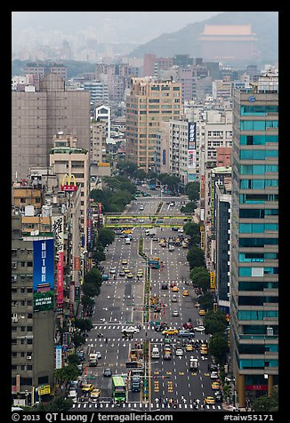 Old town center boulevard from above. Taipei, Taiwan (color)
