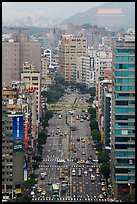 Old town center boulevard from above. Taipei, Taiwan ( color)