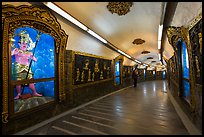 100 meter tunnel lined with brightly painted deities, Guandu Temple. Taipei, Taiwan (color)