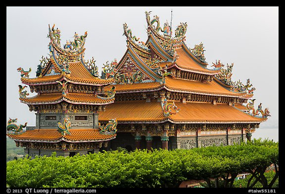 Guandu Temple from the hillside gardens. Taipei, Taiwan (color)