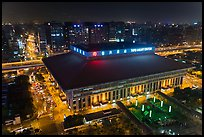 Central station seen from above by night. Taipei, Taiwan ( color)