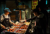 Taiwanese food specialties, Shilin Night Market. Taipei, Taiwan (color)