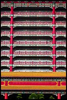 Vermilion columns and balconies, Grand Hotel. Taipei, Taiwan (color)