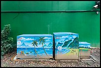 Painted electric utilities boxes with surveillance camera. Taipei, Taiwan (color)