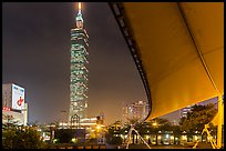 Taipei 101 at night from city hall at night. Taipei, Taiwan (color)
