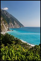 Sea cliffs and Pacific Ocean. Taroko National Park, Taiwan (color)