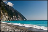 Gravel beach and turquoise waters. Taroko National Park, Taiwan (color)
