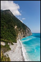 Lush high hills drop into turquoise ocean. Taroko National Park, Taiwan (color)