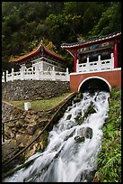 Stream and Eternal Spring Shrine, Taroko Gorge. Taroko National Park, Taiwan (color)