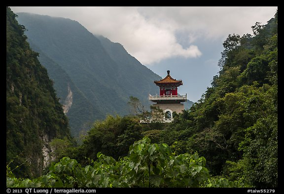 Lush mountains and Changuang Temple. Taroko National Park, Taiwan (color)