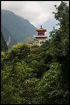 Changuang Temple nested in verdant cliffs. Taroko National Park, Taiwan (color)