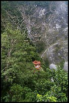 Trees, temple, and cliffs, Taroko Gorge. Taroko National Park, Taiwan (color)