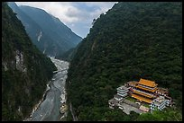 River gorge and temple. Taroko National Park, Taiwan ( color)