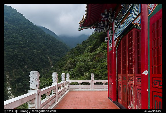 Red temple and green mountains. Taroko National Park, Taiwan (color)