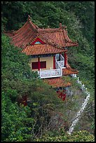 Temple with red tile roof seen from above, Taroko Gorge. Taroko National Park, Taiwan (color)