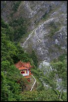 Cliffside temple, Taroko Gorge. Taroko National Park, Taiwan (color)