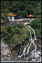 Changchun Shrine and waterfall. Taroko National Park, Taiwan (color)