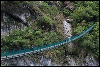 Suspension bridge with hikers. Taroko National Park, Taiwan (color)