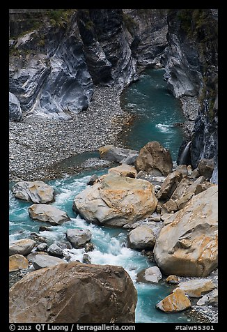 Boulders, marbled walls, and azure stream,. Taroko National Park, Taiwan (color)
