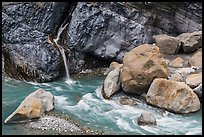 Waterfall and stream, Taroko Gorge. Taroko National Park, Taiwan ( color)
