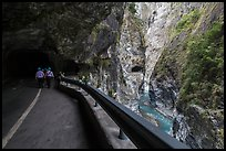 Road at Swallow Grotto, Taroko Gorge. Taroko National Park, Taiwan (color)