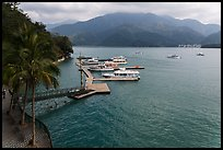 Dock and boats. Sun Moon Lake, Taiwan (color)